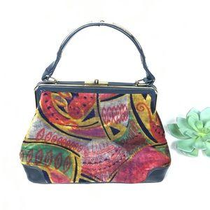 TRUE Vtg 60s top handle bag Velvet/leather